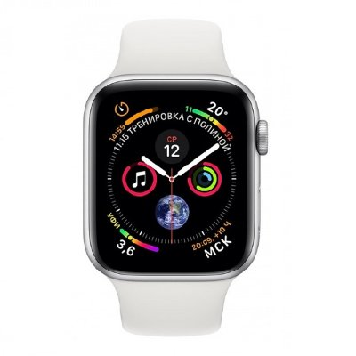 Умные часы Apple Watch Series 4 44 мм корпус из алюминия серебристого цвета, спортивный ремешок белого цвета (серебристый)