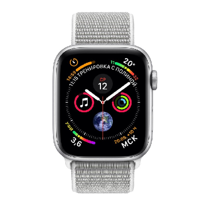 Умные часы Apple Watch Series 4 44 мм корпус из алюминия серебристого цвета, ремешок белого цвета (серебристый)